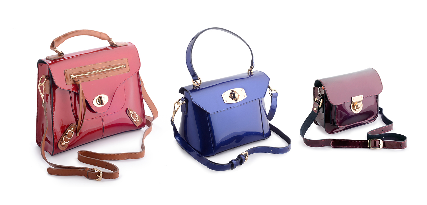 Ecommerce photography of 3 lady's handbags