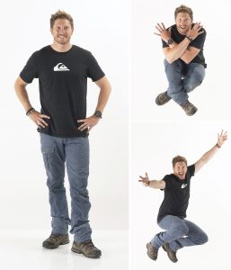 White background action images of man
