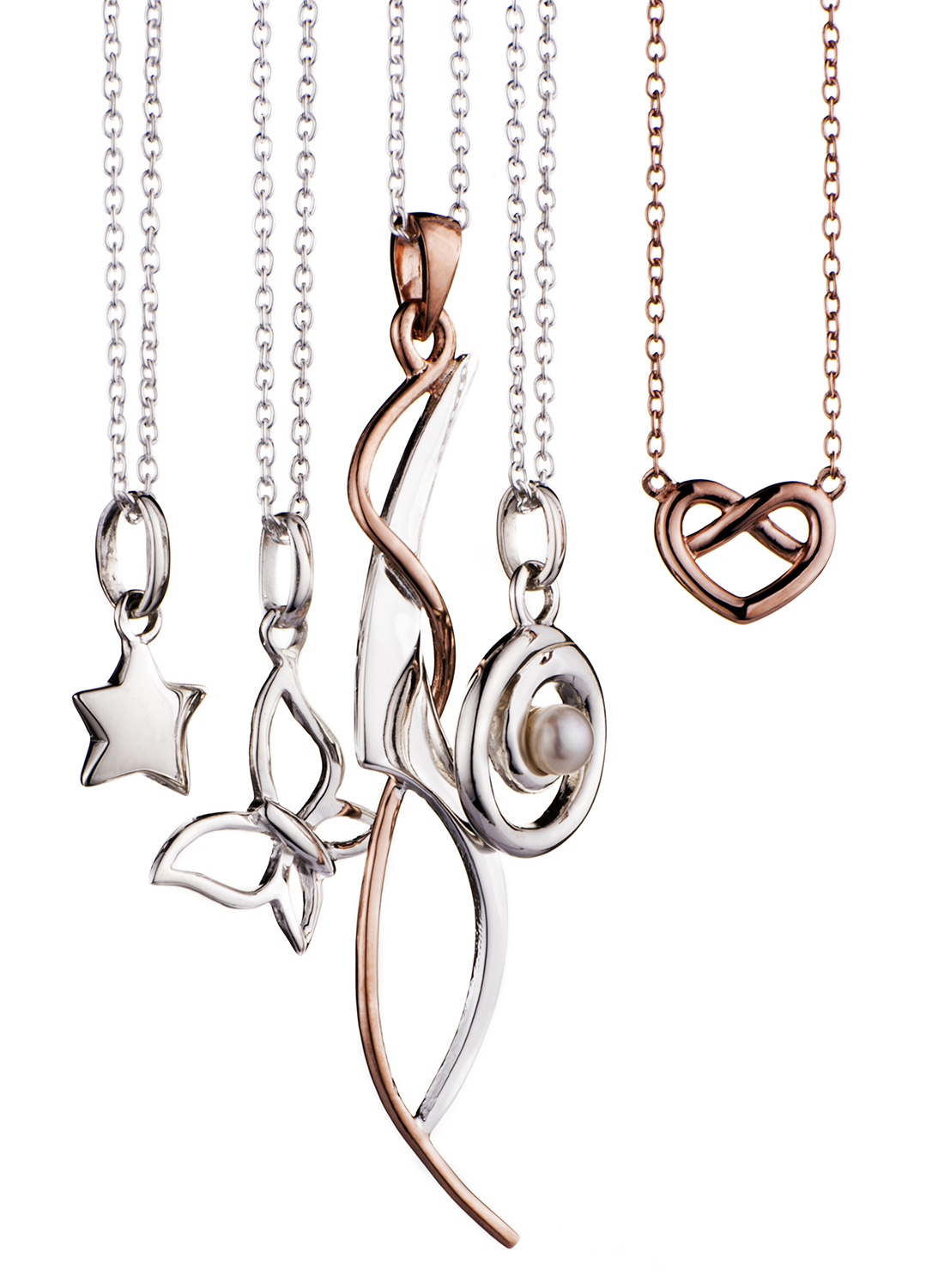 Jewellery photography of 5 hanging necklaces