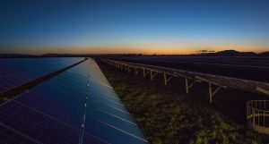 Near sunrise At a Solar Farm
