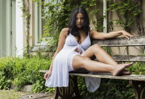 Reclining on a bench in lingerie