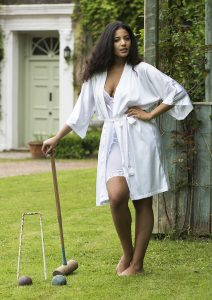 playing croquet in lingerie