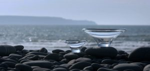 2 bowls on pebble rock beach