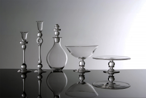 Range of Glass candlesticks, decanter, bowl and cake stand