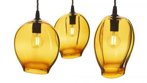 3 Yellow glass lampshades