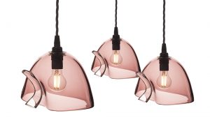 3 pink glass lampshades