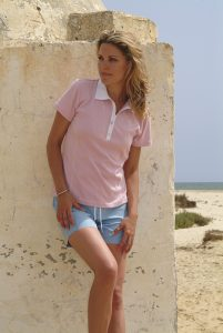 Model and a Pink Rugby Shirt