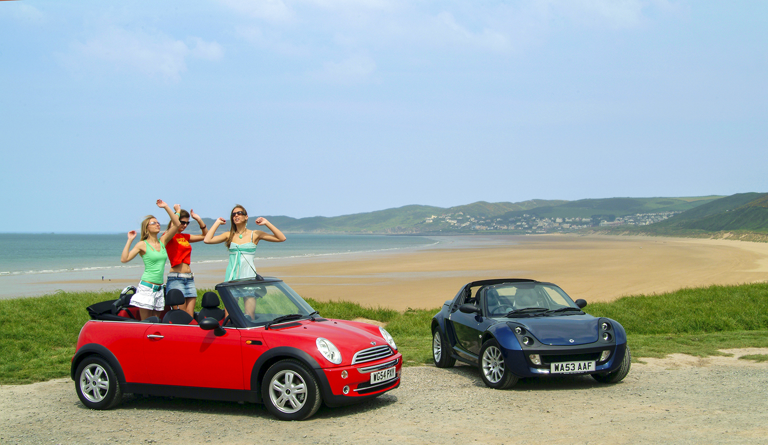 car photography of 2 minis