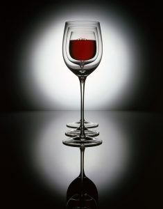 3 Red wine glasses in a row