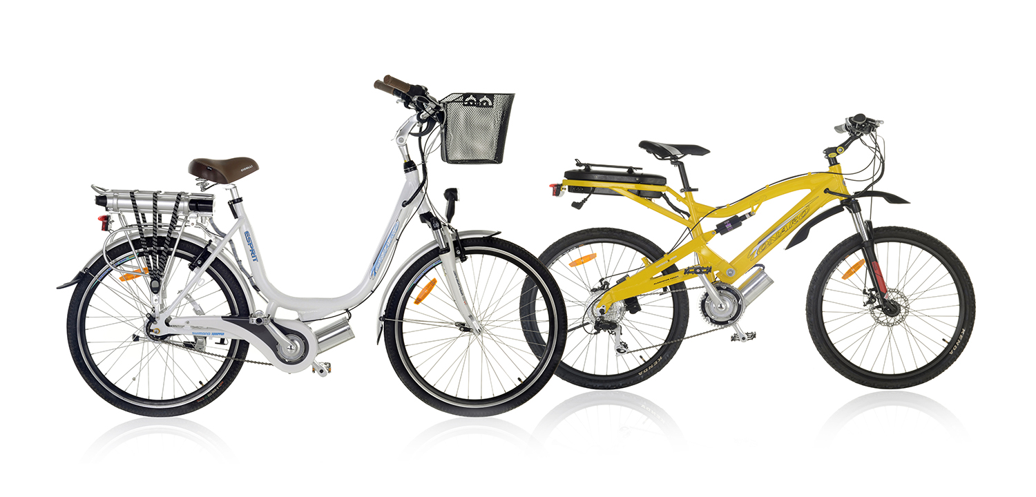 2 Bicycles photographed on a white background