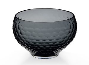 Black faceted glass bowl
