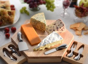 cheese board and knives