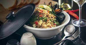 Bowl of chilli mussels pasta