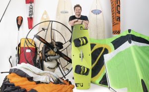 Man shows off his outdoor leisure equipment
