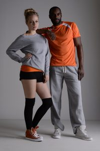 couple modelling promotional wear