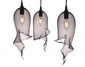 Grey glass lampshades