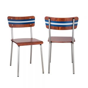 2 new retro style wood and steel chairs
