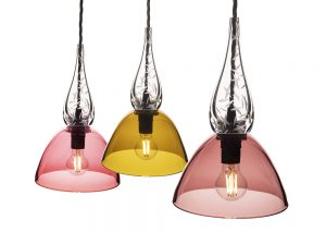 3 pink and yellow glass lampshades