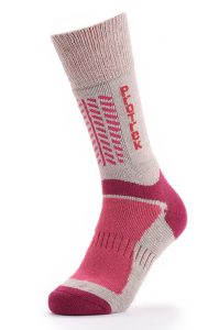 Thick red wool sock on mannequin foot