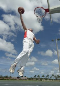 Basket ball player on outdoor court